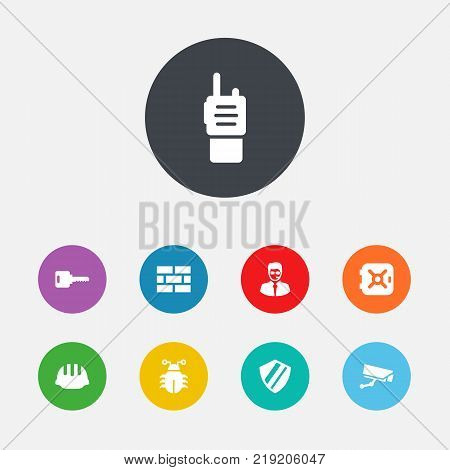 Collection Of Open, Protection, Surveillance And Other Elements.  Set Of 9 Security Icons Set.