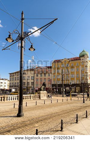 Sofia Bulgaria - March 03 2017: A bridge over the Vladaya River in Sofia downtown important and busy junction of Marie Louise and Slivnitsa boulevards