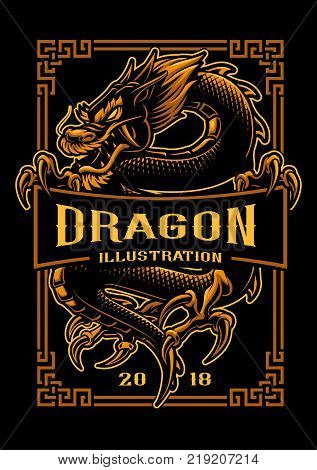 Asian dragon vector illustration. Shirt graphics. All elements text colors are on the separate layer and editable.