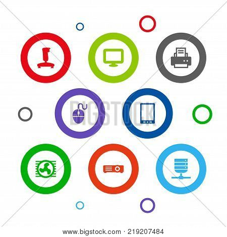 Collection Of Joystick, Control Device, Display And Other Elements.  Set Of 8 Laptop Icons Set.