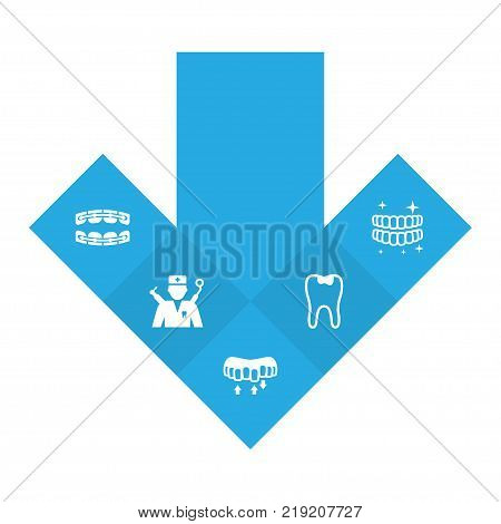 Collection Of Brace, Stabilize, Hygiene And Other Elements.  Set Of 5 Teeth Icons Set.