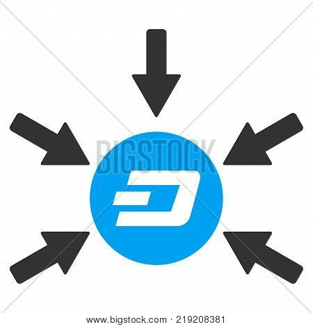 Dash Coin Income Arrows vector pictograph. Illustration style is a flat iconic bicolor blue and gray symbol on white background.