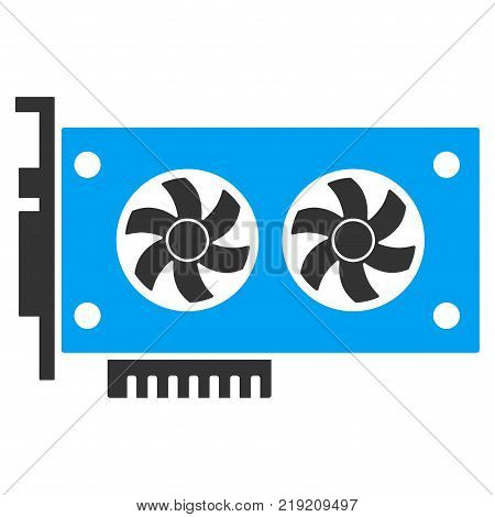 Dual Gpu Videocard vector icon. Illustration style is a flat iconic bicolor blue and gray symbol on white background.