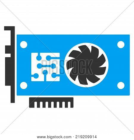 Gpu Accelerator Card vector pictogram. Illustration style is a flat iconic bicolor blue and gray symbol on white background.