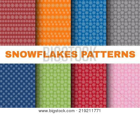 Simple Christmas patterns with snowflakes on colorful backgrounds, vector collection for Scrapbooking design. New Year scrap paper set, snowfall wallpaper