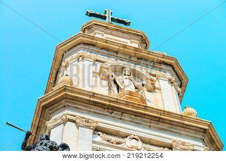 Spire of Shrine of Virgin of Rosary of Pompei Campania Italy