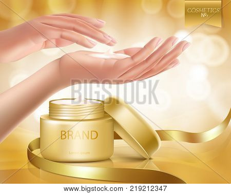Vector premium skin care cosmetics with woman hands applying cream, ads template, soft gold background with silk ribbon. Luxury realistic mockup advertising poster for brand promotion magazine catalog