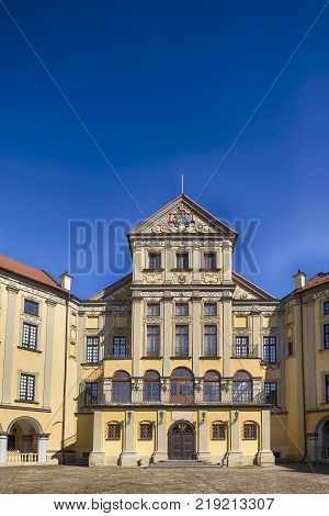Travel Ideas and Tourist Destinations. Renowned Nesvizh Castle as an Example of Medieval Ages Heritage and Residence of the Radziwill Family.Inward Yard.Vertical Shot