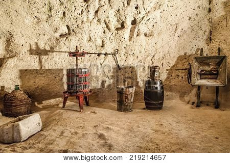 Interior Of Dwellings Carved Into The Mountainside Of A City On