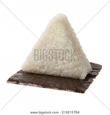 Fresh made Japanese triangular onigiri on seaweed on white background