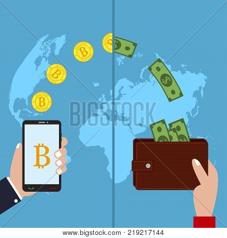 Concept of cryptocurrency technology. Bitcoin exchange, mobile banking. Hand holds phone with send bitcoins and wallet with arrives money on worlds map background. Vector modern flat illustration.