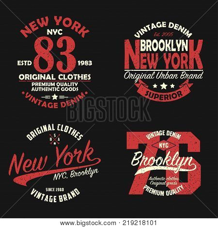 Set of New York, Brooklyn vintage brand graphic for t-shirt. Original clothes design with grunge. Authentic apparel typography. Retro sportswear print. Vector illustration.