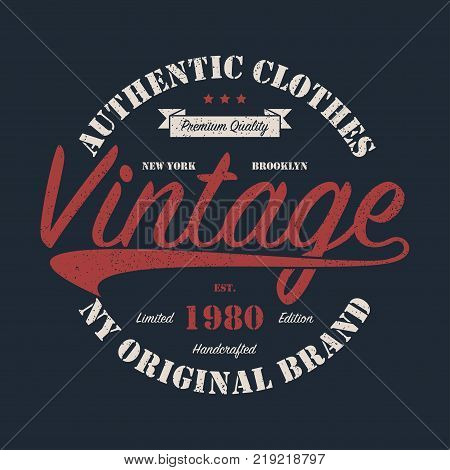 New York, NY, Brooklyn vintage original brand graphic for t-shirt. Design for handcrafted clothes with grunge. Authentic apparel typography. Retro sportswear print. Vector illustration.