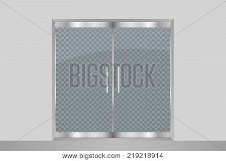 Glass door and wall. Isolated on transparent background. Entry double doors for mall, office, shop, store, boutique. Vector illustration.