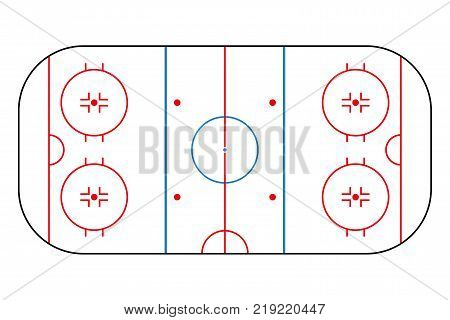 Ice hockey rink. Mockup background field for sport strategy and poster. Vector illustrator.