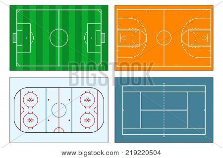 Set of sports play-fields. Soccer or football field, tennis and basketball courts, ice hockey rink. Mockup background for sport strategy and tactics. Vector illustrator.