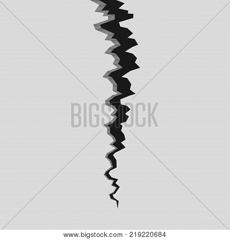 Crack in surface. Rift in earth. Realistic fracture in wall. Vector illustration.