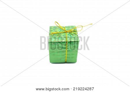 Christmas green gift box on white background. Gift box for Chrismas's tree decoration.