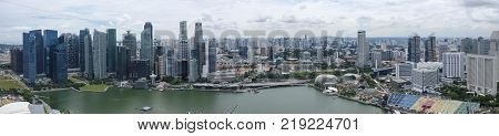 Singapore City Singapore August 8 2017: Panorama of Marina Bay and the city of Singapore taken from a high vantage point
