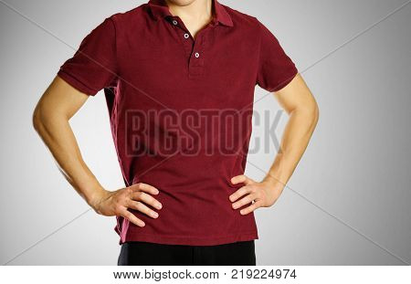 The Guy In The Dark Red Blank T-shirt Polo. Prepared For Your Logo