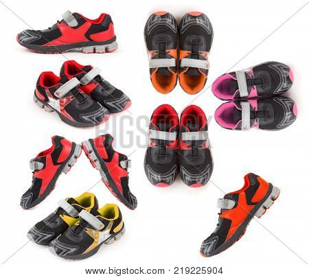 Collage with seven Pair of sports shoes, black, red, yellow and orange colors on white background.