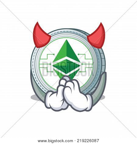 Devil Ethereum classic character cartoon vector illustration