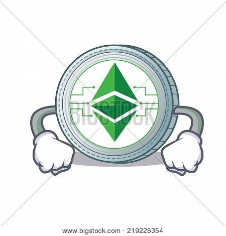 Angry Ethereum classic character cartoon vector illustration