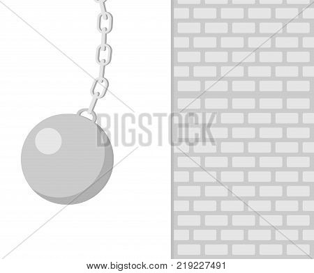 The wrecking ball near the wall. Building concept. The wrecking ball icon. Shades of gray. Vector flat illustration.
