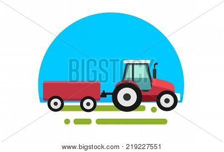 Heavy red tractor with trailer in a flat style isolated. Agricultural transport for farm. Heavy agricultural machinery for field work. Tractor icon. Vector illustration.