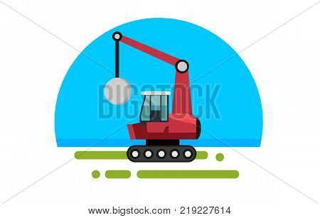 Flat red crane with wrecking ball in a flat style isolated. Heavy machinery for conducting construction works. Wrecking ball icon. Element for site, infographics, websites. Vector illustration.
