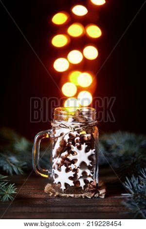 Christmas Honey Cake On Golden Bokeh