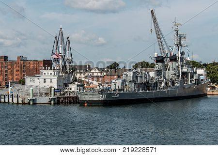 Boston massachusetts USA 06.09.2017 - USS Cassin Young Fletcher class destroyer National Historic Landmark