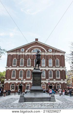 Boston massachusetts USA 06.09.2017 Samuel Adams monument statue near Faneuil Hall in Boston, Massachusetts USA