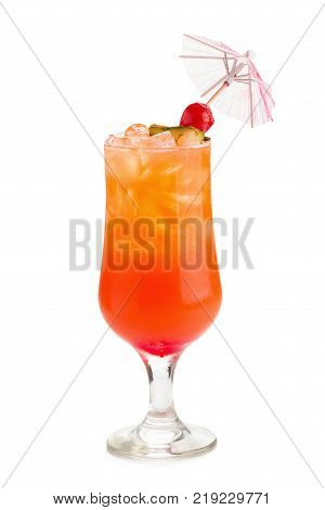 Glass of Passion fruit pineapple and pomegranate Cocktail. isolated on white background.