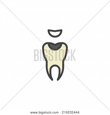 Decayed tooth filled outline icon, line vector sign, linear colorful pictogram isolated on white. Symbol, logo illustration. Pixel perfect vector graphics