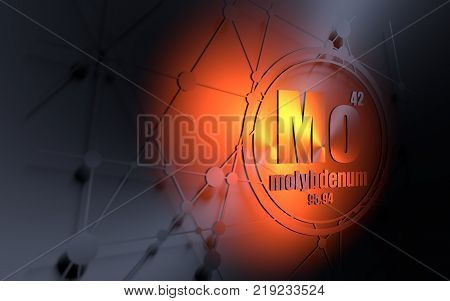 Molybdenum chemical element. Sign with atomic number and atomic weight. Chemical element of periodic table. Molecule and communication background. Connected lines with dots. 3D rendering