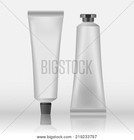 Packing White Realistic Tubes And Package For Cosmetics Isolated On White Background. Here Can Be Creams, Toothpaste, Gel, Sauce, Paint, Glue, Ointments, Lotions, Medicines Mockup For Your Design EPS 10