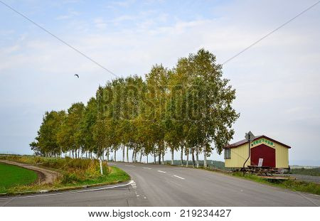 Hokkaido Japan - Oct 2 2017. A wooden house with rural road in Hokkaido Japan. Hokkaido is the second largest island of Japan and the northernmost prefecture.