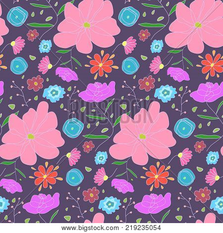 Nice cartoon seamless pattern with white outlined sketch color flowers. Ditsy floral texture on dark background for textile, bedclothing, wrapping paper, wallpaper, cover, underwear