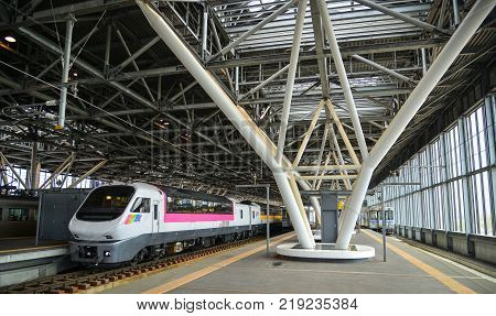 Hokkaido Japan - Oct 2 2017. A train stopping at Sapporo Station in Hokkaido Japan. Hokkaido is the second largest island of Japan and the northernmost prefecture.