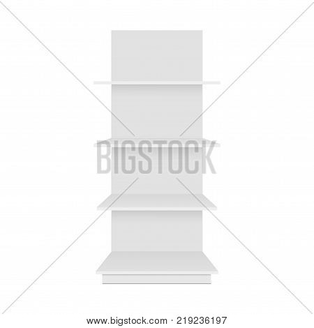 Blank empty showcase display with retail shelves. Front view. Vector mock up template ready for your design