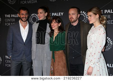 LOS ANGELES - DEC 21:  Hugh Dancy, Michelle Monaghan, Jessica Goldberg, Aaron Paul, Emma Greenwell at the
