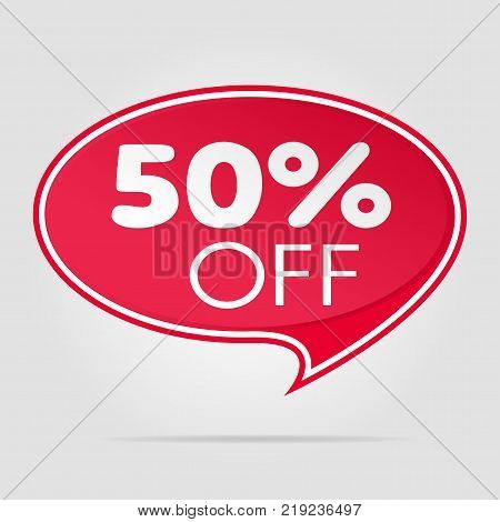 Sale offer isolated red tag vector illustration. Discount offer price label, symbol for advertising campaign in retail, sale promo marketing, fifty percent off discount sticker, ad offer on shopping day