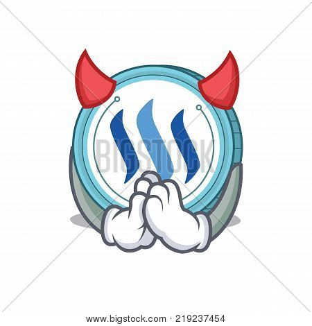Devil Steem coin character cartoon vector illustration
