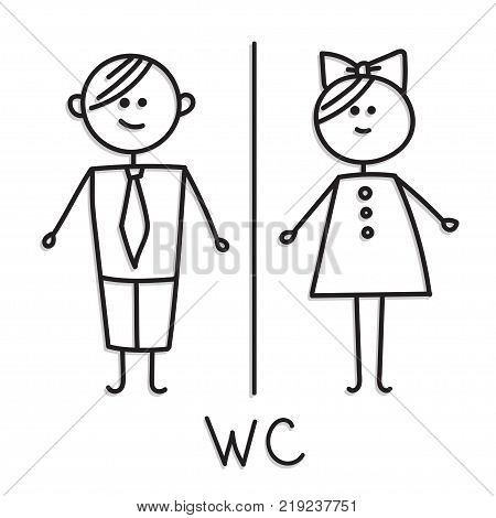 Funny wc door plate symbols. WC sign. Toilet door plate icon. Gents and ladies WC sign for restroom.