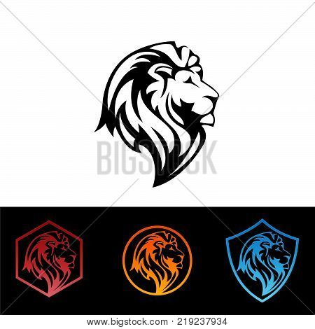 Lion head - vector sign concept illustration. Lion head logo. Wild lion head graphic illustration. Design element.Eps8,Eps10
