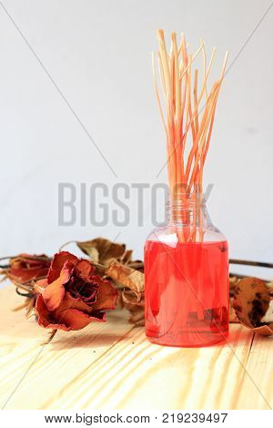 Hand Made Of Fragrance Diffuser Set: Bottle With Aroma Sticks And Dry Red Rose (reed Diffusers), A S