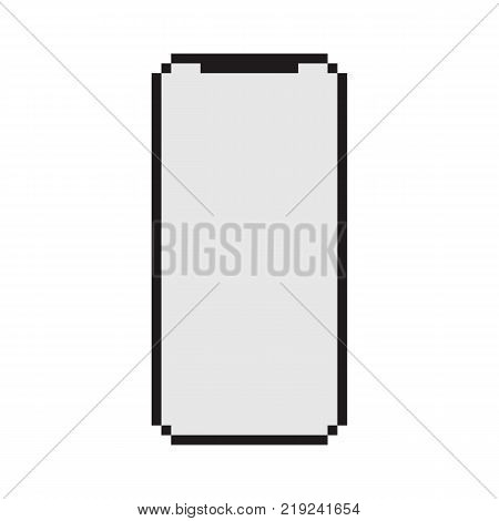 Smart phone with blank screen isolated on white background. Element for retro pixel game illustration.