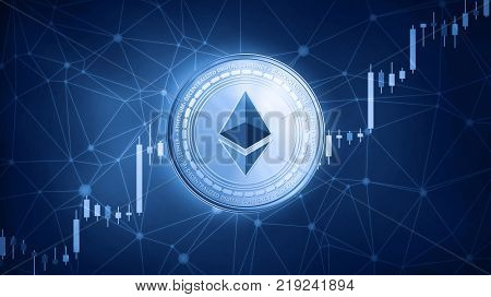 Golden ethereum coin on hud background with bull trading stock chart. Ethereum blockchain token grows in price on stock market concept. Cryptocurrency coin on polygon peer to peer network background.