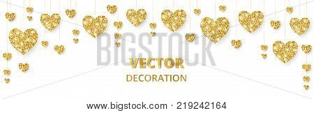 Golden hearts frame, border. Vector glitter isolated on white. Great for decoration of Valentine and Mothers day cards, wedding invitations, party posters and flyers, website and social media headers.